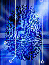 Fingerprint on circuit board illustration